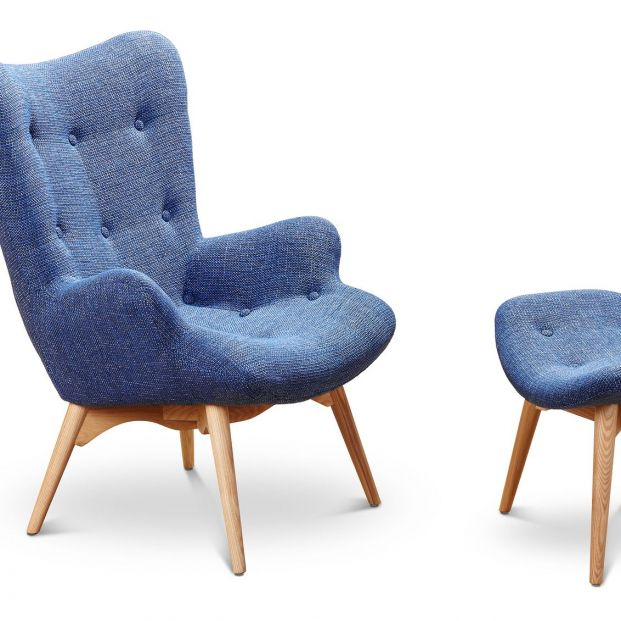 Armchair and stool for the feet